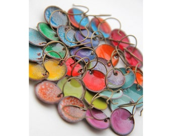 Small cupped torch fired enamel disc earrings (multiple color options available)