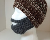 Crocheted Bearded Face Mask Hat, Dark Tans and Browns Hat, Choice of Beard