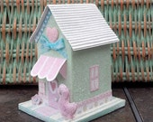 Vintage Style Glitter Easter Cottage Mint Green and Pink Pastels