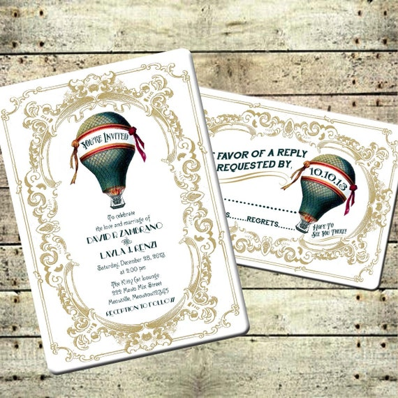 Marguerite - Victorian Steampunk Hot Air Balloon Wedding Invitation Suite - Teal & Gold Printable DIY Travel Carnival Inspired Wedding