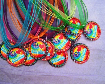 Assorted Peace Love Cheer Gymnastics Dance Friends Skate on Tie Dye Caps Ribbons Birthday Party Favor Necklaces 10pk
