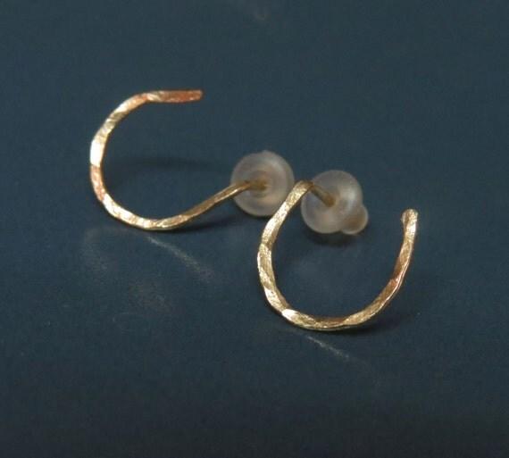Horseshoe earrings, Gold post earrings, Good luck jewelry, Equestrian jewelry, Small stud earrings for women