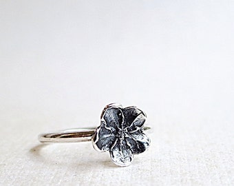 Flower ring, Sterling Silver, Forget-me-not, Stacking, Nature jewelry