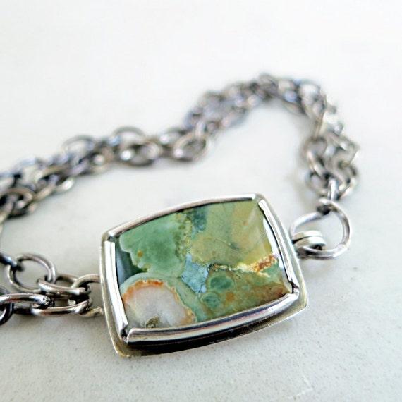 Rainforest Jasper bracelet| green gemstone| Sterling silver| brass| geometric jewelry