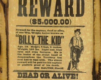 Billy the Kid - Wanted Poster - Wooden Plaque