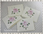 French Rose Thank You Cards, Set of 4 Hand Painted, ECS, CSSTeam