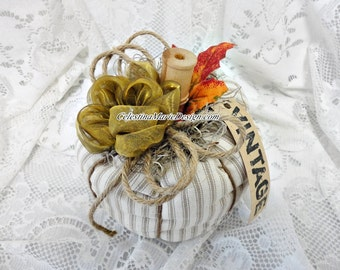 Farmhouse Ticking Fabric Pumpkin, Hand Created and Embellished, ECS, CSSTeam