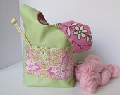 Pink and Lime Floral Japanese Knot Bag - Reversible Cotton Knitting/Crochet Project Bag