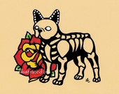Day of the Dead Dog FRENCH BULLDOG Dia de los Muertos Art Print 5 x 7, 8 x 10 or 11 x 14 - Choose your own words - Shelter Donation