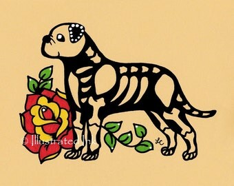 Day of the Dead Dog BULLMASTIFF Dia de los Muertos Art Print 5 x 7, 8 x 10 or 11 x 14 - Choose your own words - Shelter Donation