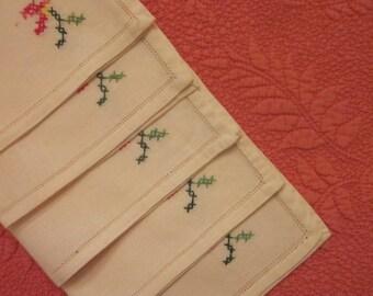 Six Vintage Napkins - Cream Linen Blend - Cross Stitch Napkins