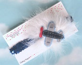 Headband Adorable Airplane white marabou pouf clip and blue sequin headband set pilot flight attendant girl kids first flight
