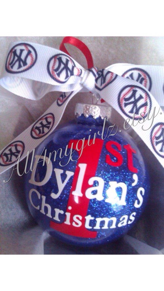 """Christmas Ornament Personalized Baby's First Christmas 4"""" Glass Glitter with Bow Ribbon"""