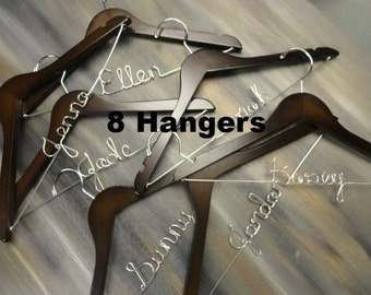 Bridesmaid Hangers - Bridesmaid Proposal - Bridal Keepsake - Set of 8 Hangers - Clothes Hanger - Custom Wedding - Maid of Honor Hanger