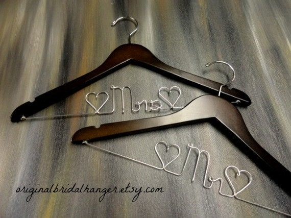 Mr and mrs hangers wedding dress hangers bride coat hanger for Mrs hangers wedding dress