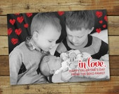 In love - valentine's day photo card, valentine's day birth announcement, printable valentines day baby photo card
