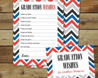 Graduation wishes advice cards, printable instant download, editable pdf, red and blue chevron