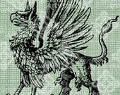 Digital Download Griffin Statant, Mythological Creature Beast digi stamp, Fantasy Gothic Gryphon Vintage illustration, Digital Transfer