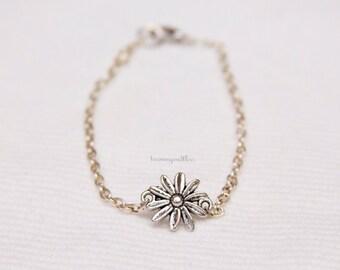 Daisy flower charm sunflower spring delicate flowergirl flower girl charm bracelet