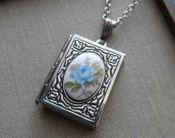 Something Blue, Book Locket Necklace with Vintage Cameo,