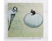 Whimsical Art - Bird Art - Rabbit and Woodpecker Canvas Print on 5x5 Art Block - Whose Egg - Nursery Home Decor - Surreal Wall Art