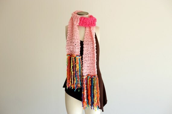 Pre Teen Gift Teen Girl Gift Knit Scarf Extra Long Scarf Pink Scarf with Colorful, Chunky Fringe for Pre Teen Girl