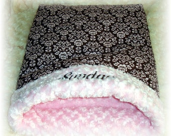 Quilted Cotton Cabbage Rose Snuggle Sack - Several Sizes - Includes Embroidered Personalization