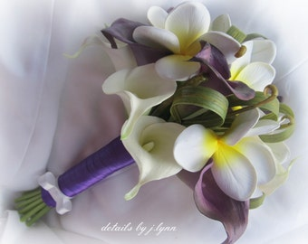 Real Touch Flower Bouquet - Plumeria, Callas and Festina Grass - Purple, White, Yellow