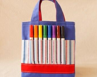 Coloring Tote Crayon Bag Crayon Tote READY to SHIP ARTOTE Mini in Play Ball Clearance