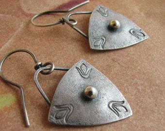 Sterling Silver Earrings, Modern Shield Earrings, Silversmith Jewelry, Contemporary Earrings, Contemporary Jewelry, Silver Dangle Earrings