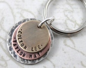 Dad Keychain, Mens Personalized Keychain for Dad with 2 Children with Special Message on Back, Womens Gift, Engraved Keyring, Father's Day