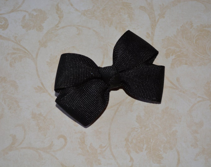 Black Hair Bow 2.5 Inch Pinwheel Boutique Bow for Babies Toddlers Girls Hair Bows