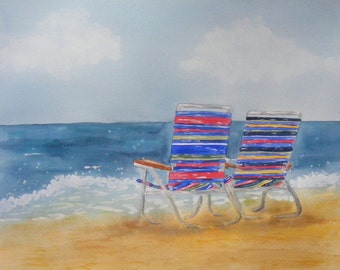 Beach Art, Fine Art-Print of Watercolor Painting of Beach Chairs on the Jersey Shore