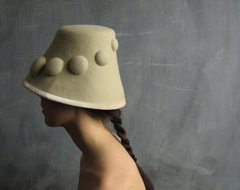 Free Shipping/Can./U.S.-Pebbles no.16, women's off white wool felt hat, sculptural bucket style