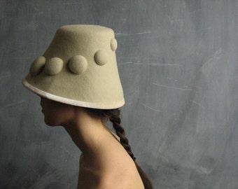 Pebbles no.16, women's off white wool felt hat, sculptural bucket style