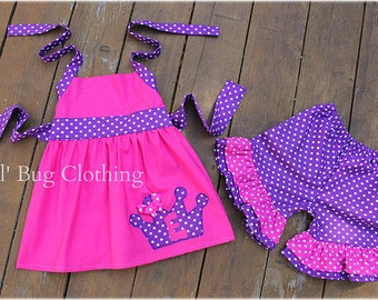 Custom Boutique Princess Crown Purple And Pink Polka Dot Short  and Halter Top Birthday Girl
