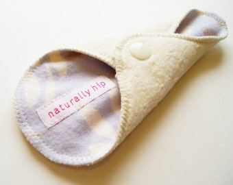 "6"" Organic Hemp Fleece Thong Panty Liner - Ivory Taupe Blue - Cloth Menstrual Pad"