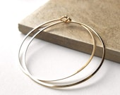 "1.5"" Thin Gold Hoop Earrings, Smooth Hammered Gold Filled Hoops"
