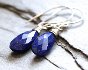 SALE: Genuine Lapis Lazuli Wire Wrapped Dangle Earrings. Sterling Silver. Stone of Total Awareness.