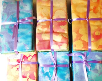 Fat Quarter Batik Cotton Fabric SIX Sets of Five pieces (LOT BC)