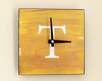 Personalized Letter Clock, Handmade Clock, Home Decor, Functional Art,  Contemporary Clock, Mustard Color
