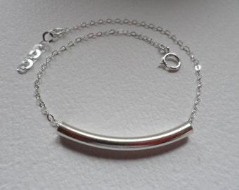 Sterling Silver Bar Bracelet - Tube Bar Bracelet, 925 Curve Bar Bracelet
