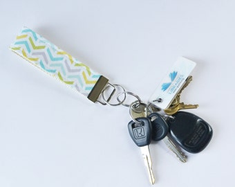 Keychain Fob in Ripples Stripes Fabric