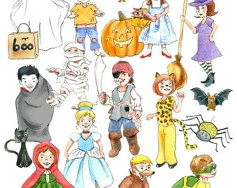 HALLOWEEN KIDS in COSTUME Watercolor Clip Art - Kids Halloween Watercolor Clip Art - Instant Download