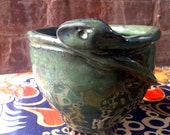 Pottery Snake Bowl Pinch Pot Hand built Green Blue Glaze