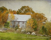 Union Maine Photos Quarry House Photo Fall Colors Rustic wall art country vintage Cottage Chic Brown Orange Green Decor Landscape Art Print