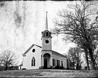 Historic Church Photography, SC Grunge Wall Art, Brown Tan White  Black & White Decor Cottage Chic Rustic Winter Home Decor Office Art 8x12