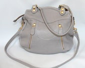 Larch leather bag in cement grey