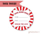 Personalized Blank Jam or Jelly Labels - Spread the Love - Circle - Blank / DIGITAL FILE