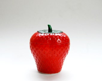vintage 1960s STRAWBERRY glass container